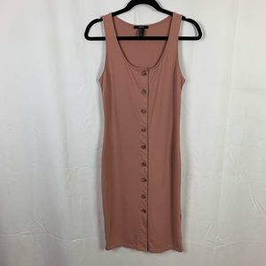 Forever 21 Nude Blush Midi Button Up Dress S